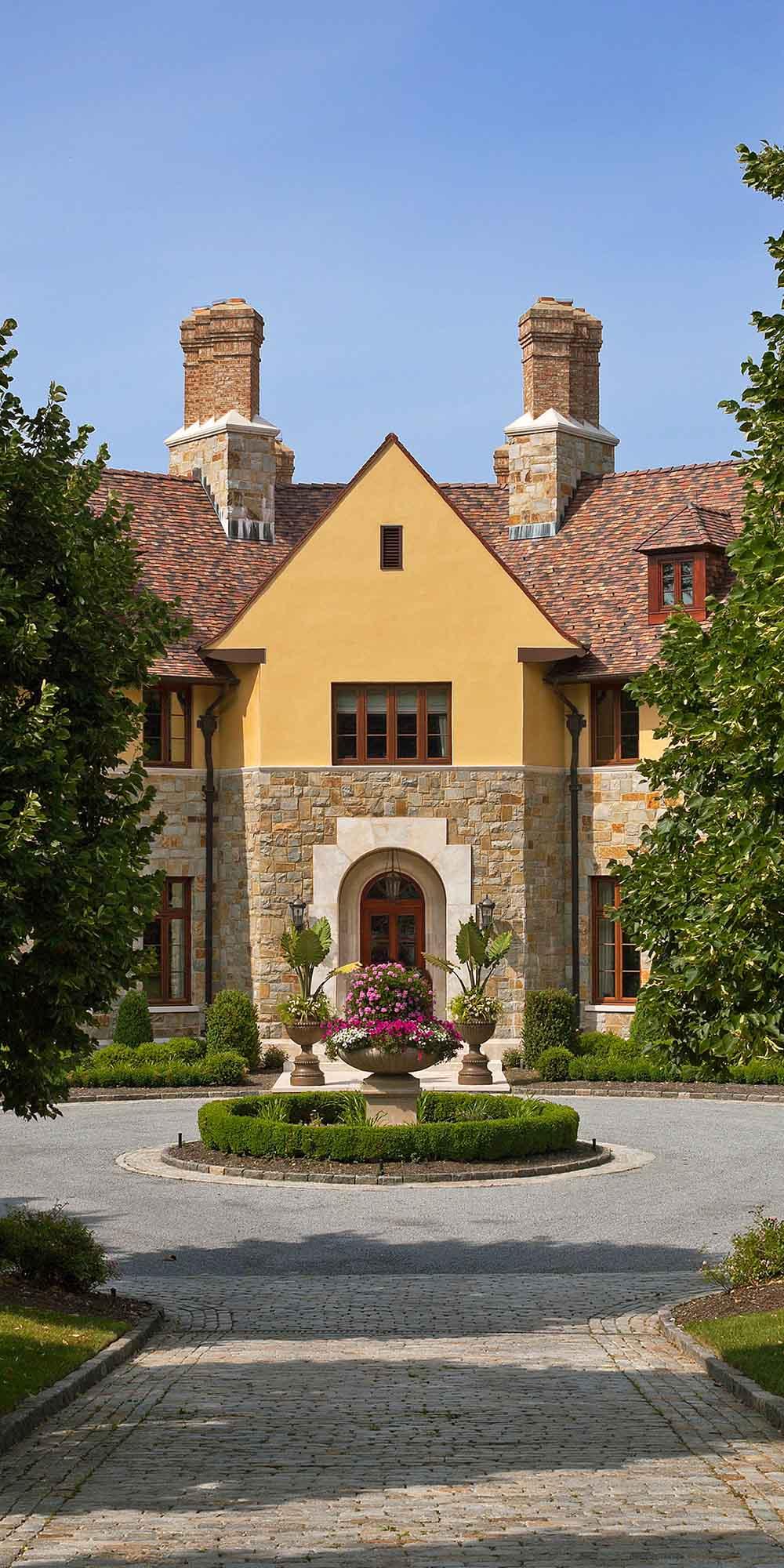 exterior, English Tudor, lloyd harbor, circular horseshoe driveway, stone stucco