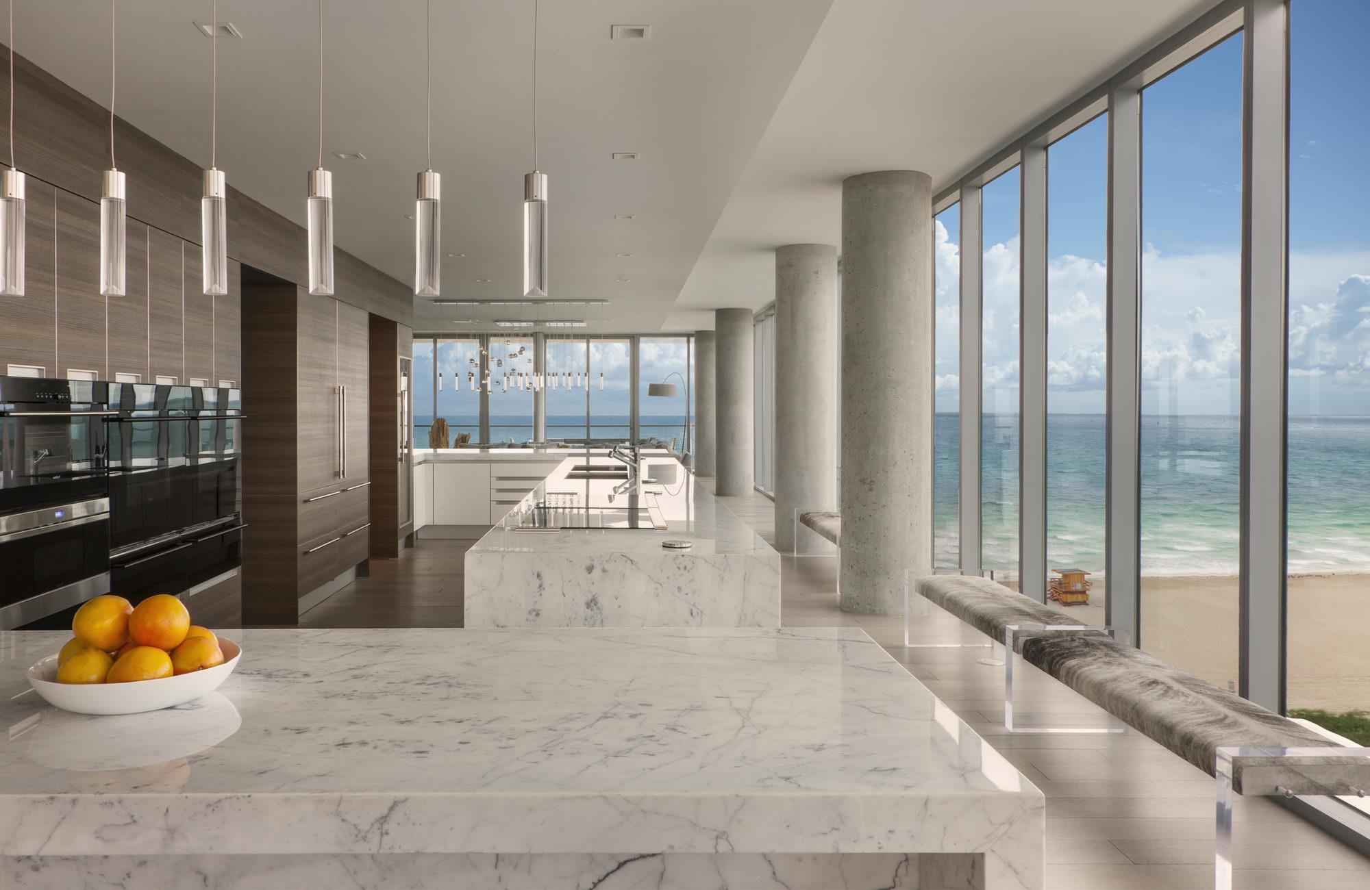 Ocean penthouse beach view south beach Miami Florida contemporary apartment kitchen