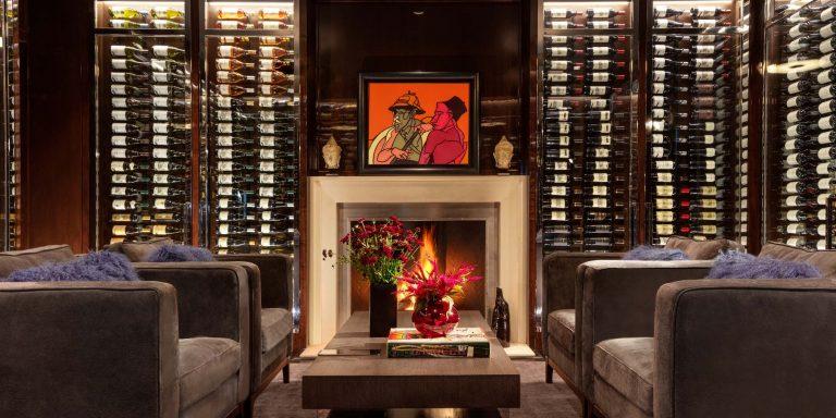 Renovation, architect, fireplace, Adami art, wine room, lounge