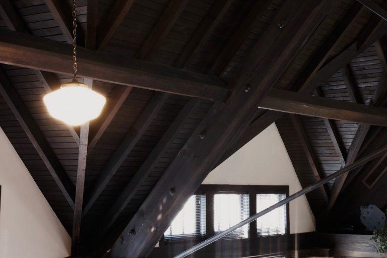 Timber construction, truss, schoolhouse light, gable