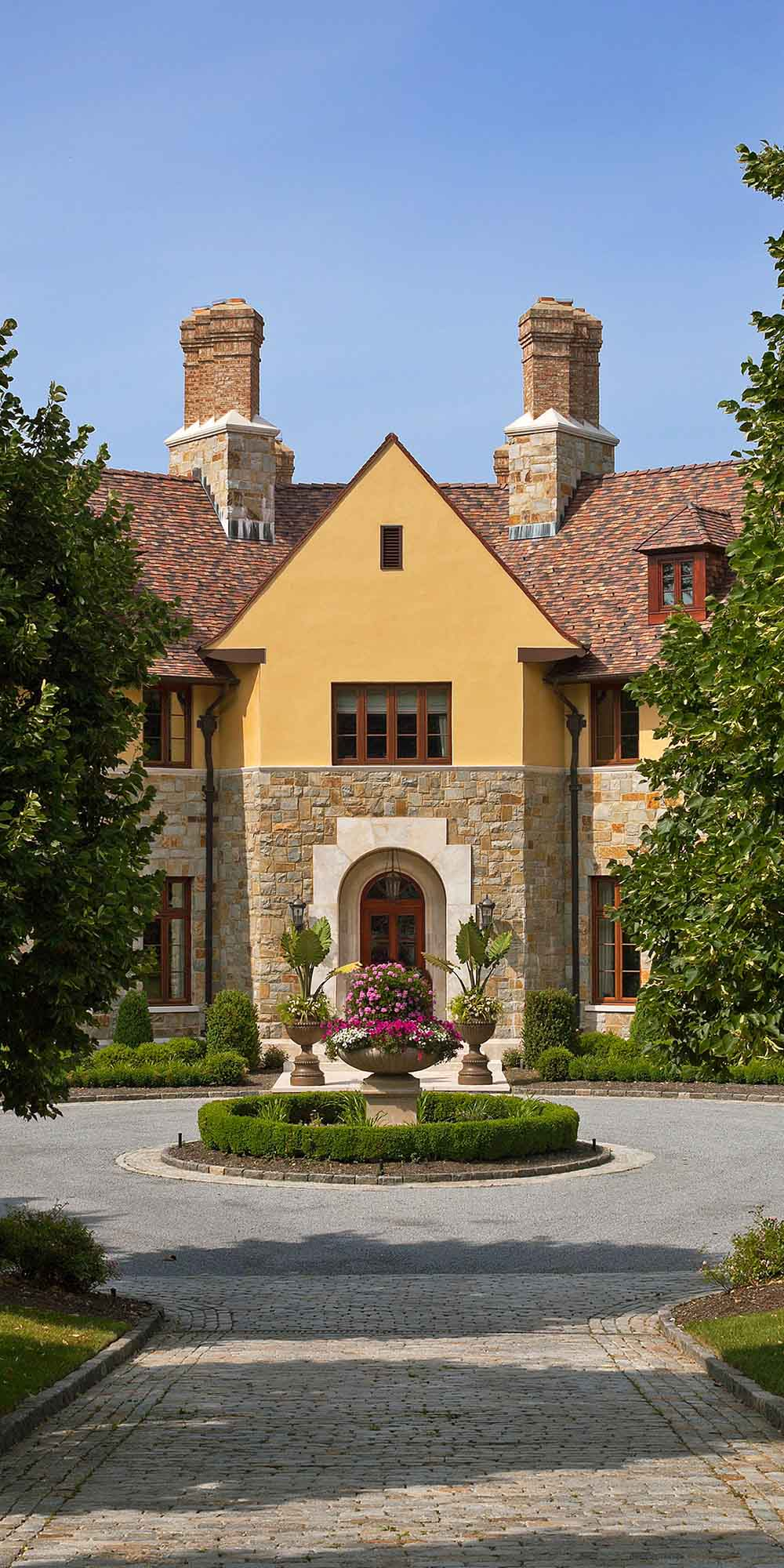 English Country, exterior, entry, stone driveway, gravel courtyard, arched entryway, stone stucco