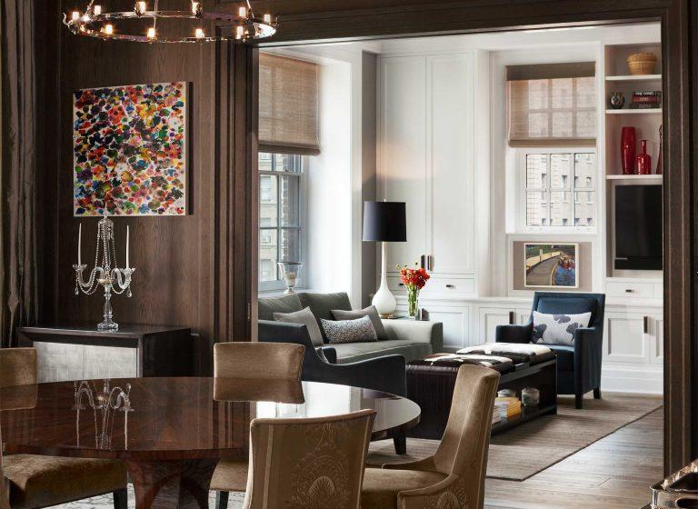 79th Street Apartment, Lenox Hill, Manhattan, Central Park transitional, dining room family room, pocket doors