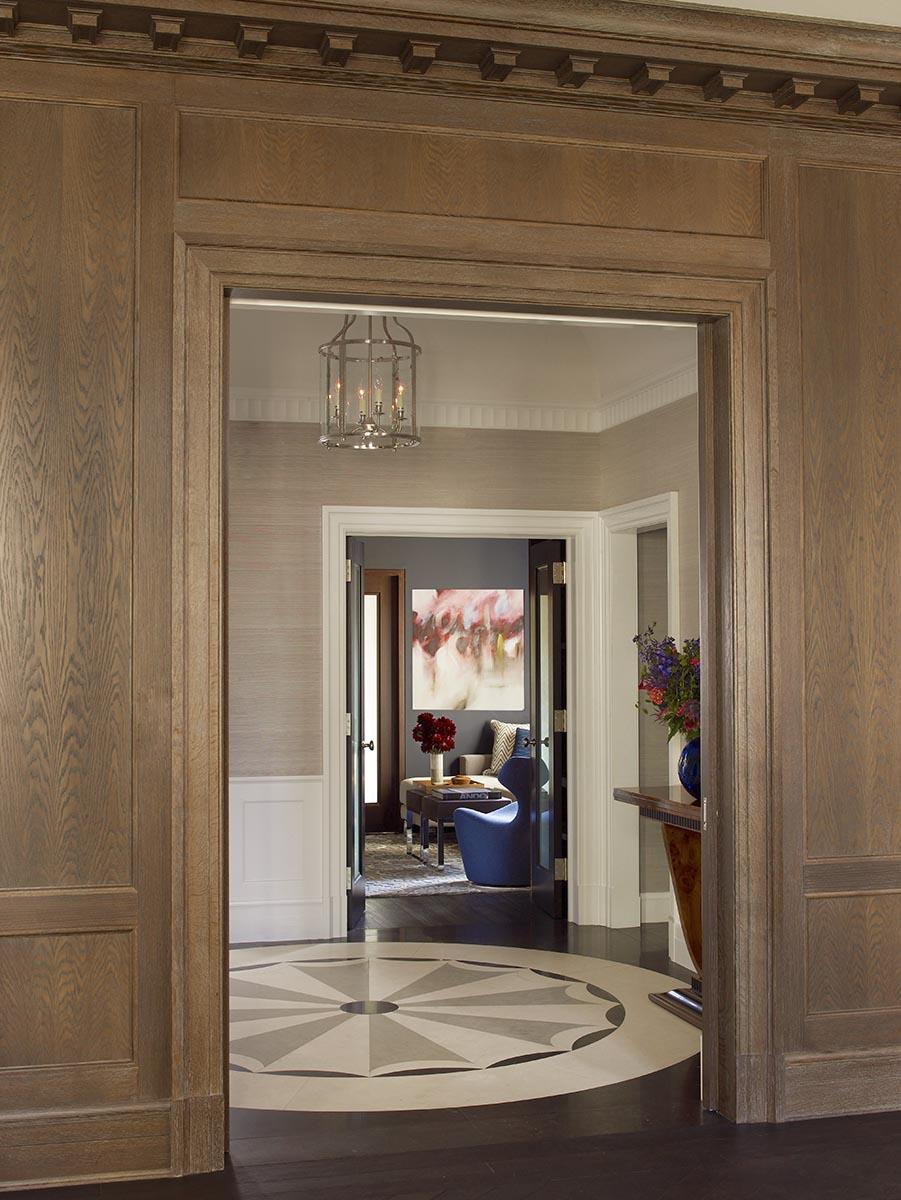 79th Street Apartment, Lenox Hill, Manhattan, Central Park transitional, starburst floor, entry hall, wood panel walls