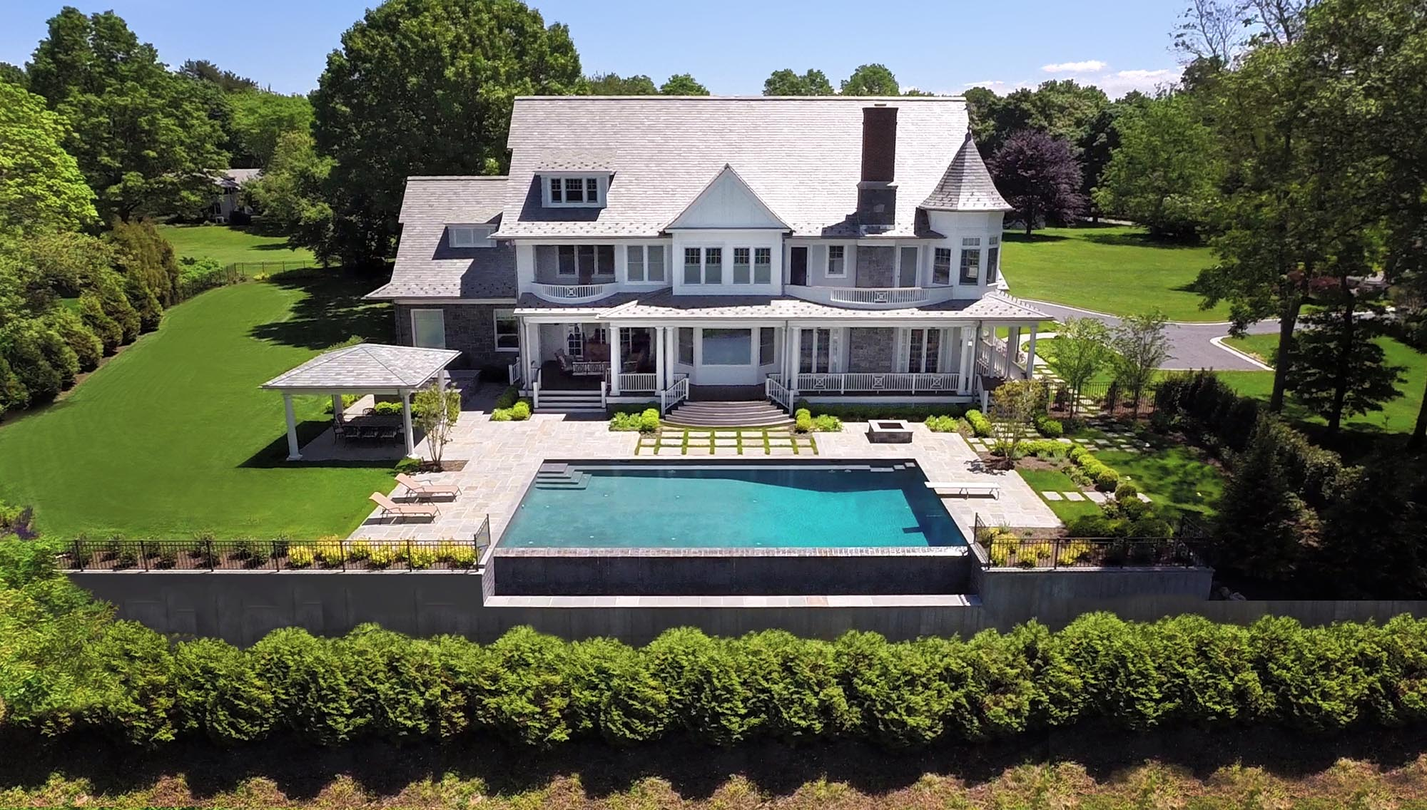 Queen Anne Revival, Cold Spring Harbor, long island, infinity pool, slat roof, cabana
