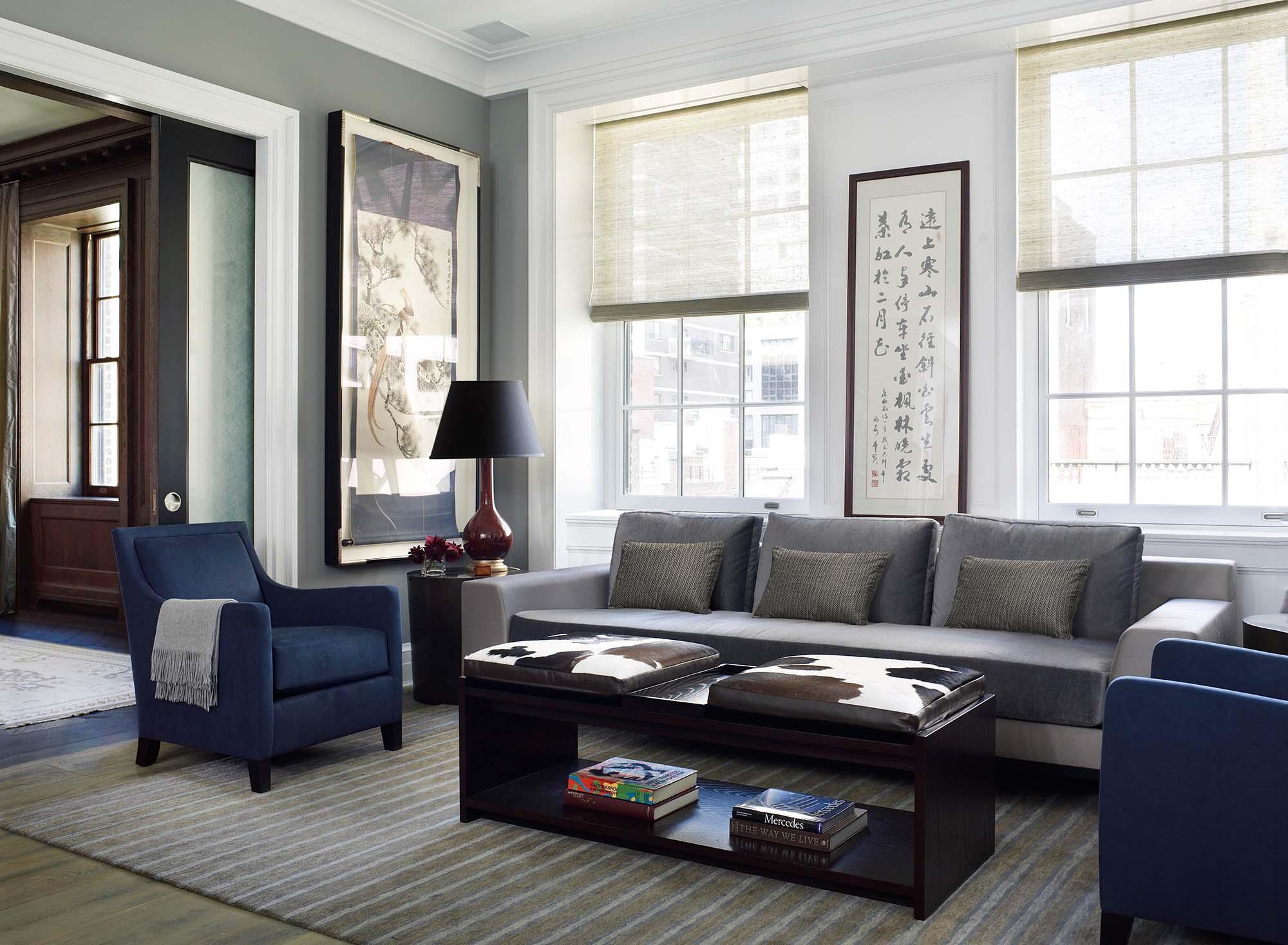 79th Street Apartment, Lenox Hill, Manhattan, Central Park transitional, living room family room pocket doors, cow pillows