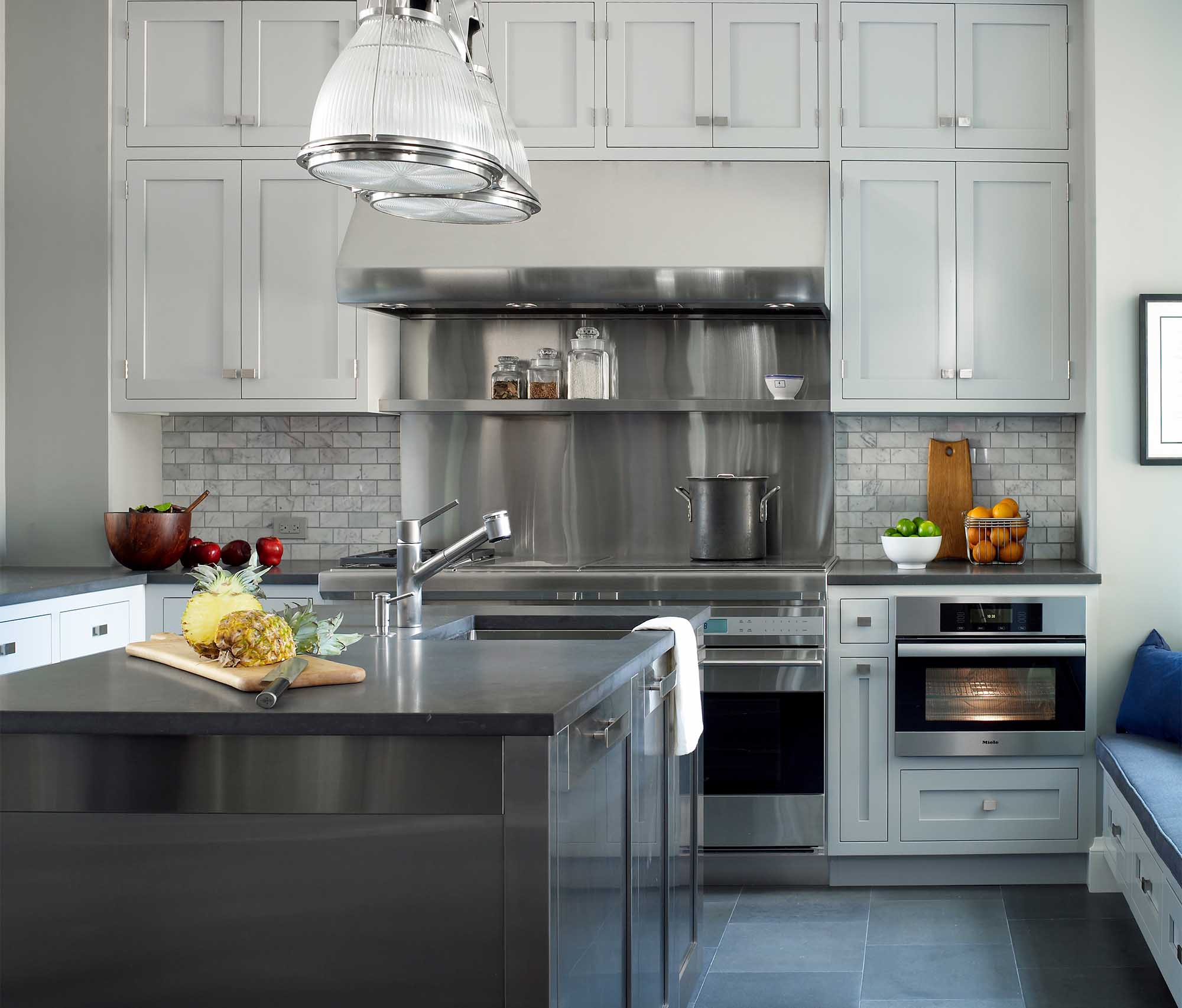 79th Street Apartment, Lenox Hill, Manhattan, Central Park transitional, kitchen, white, stainless steel island