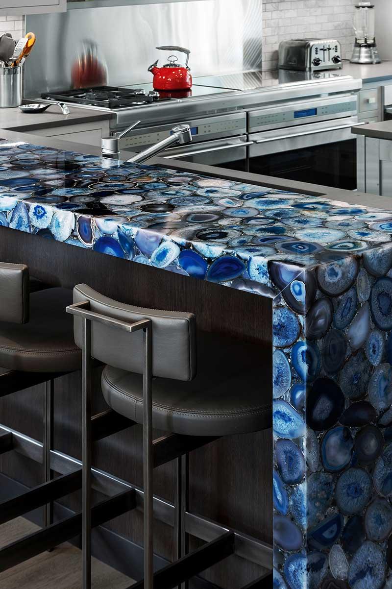 79th Street Apartment, Lenox Hill, Manhattan, Central Park transitional, precious gems counter top bar