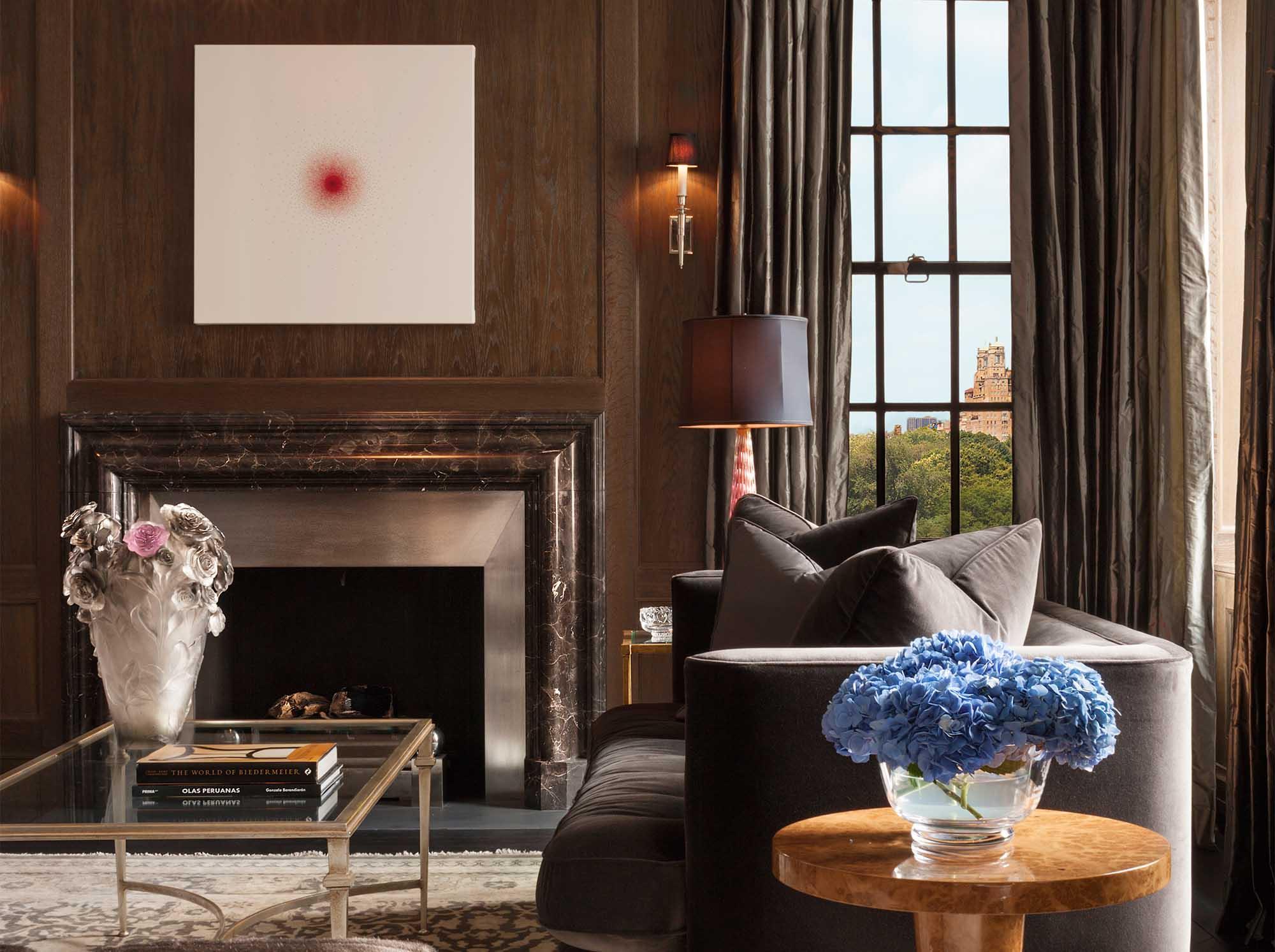 79th Street Apartment, Lenox Hill, Manhattan, Central Park transitional, modern art living room, stone metal fireplace
