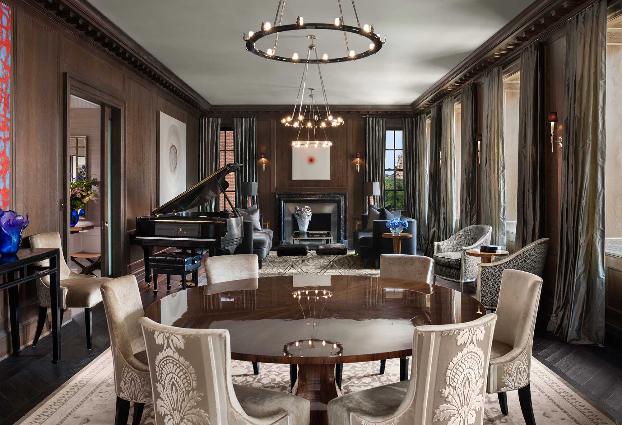 79th Street Apartment, Lenox Hill, Manhattan, Central Park transitional, great room, salon, dining room, living room, steinway piano, firplace, modern art