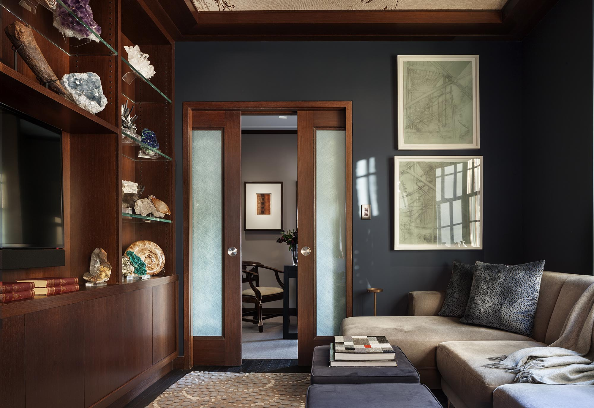 79th Street Apartment, Lenox Hill, Manhattan, Central Park transitional, astro gallery of gems, study library, pocket doors