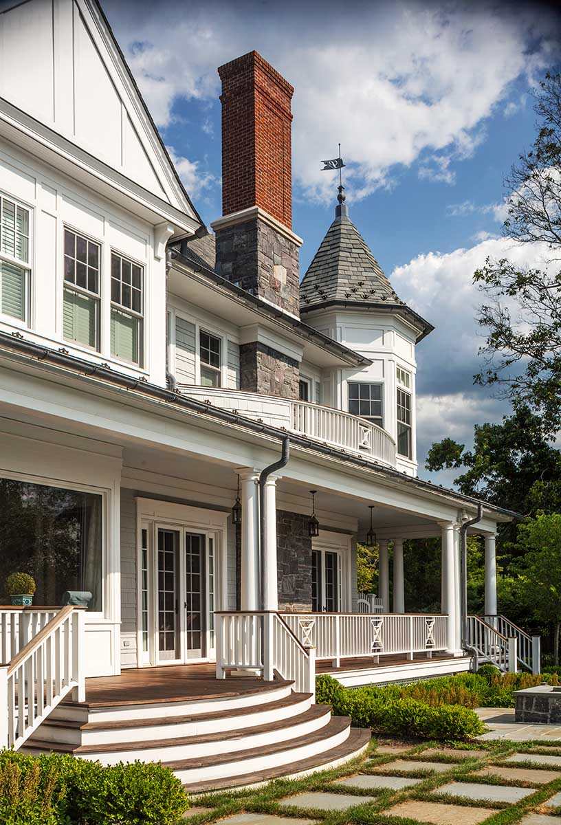Queen Anne Revival, Cold Spring Harbor, long island, stair tower, stone chimney, wrap around patio, deck, french doors, balcony