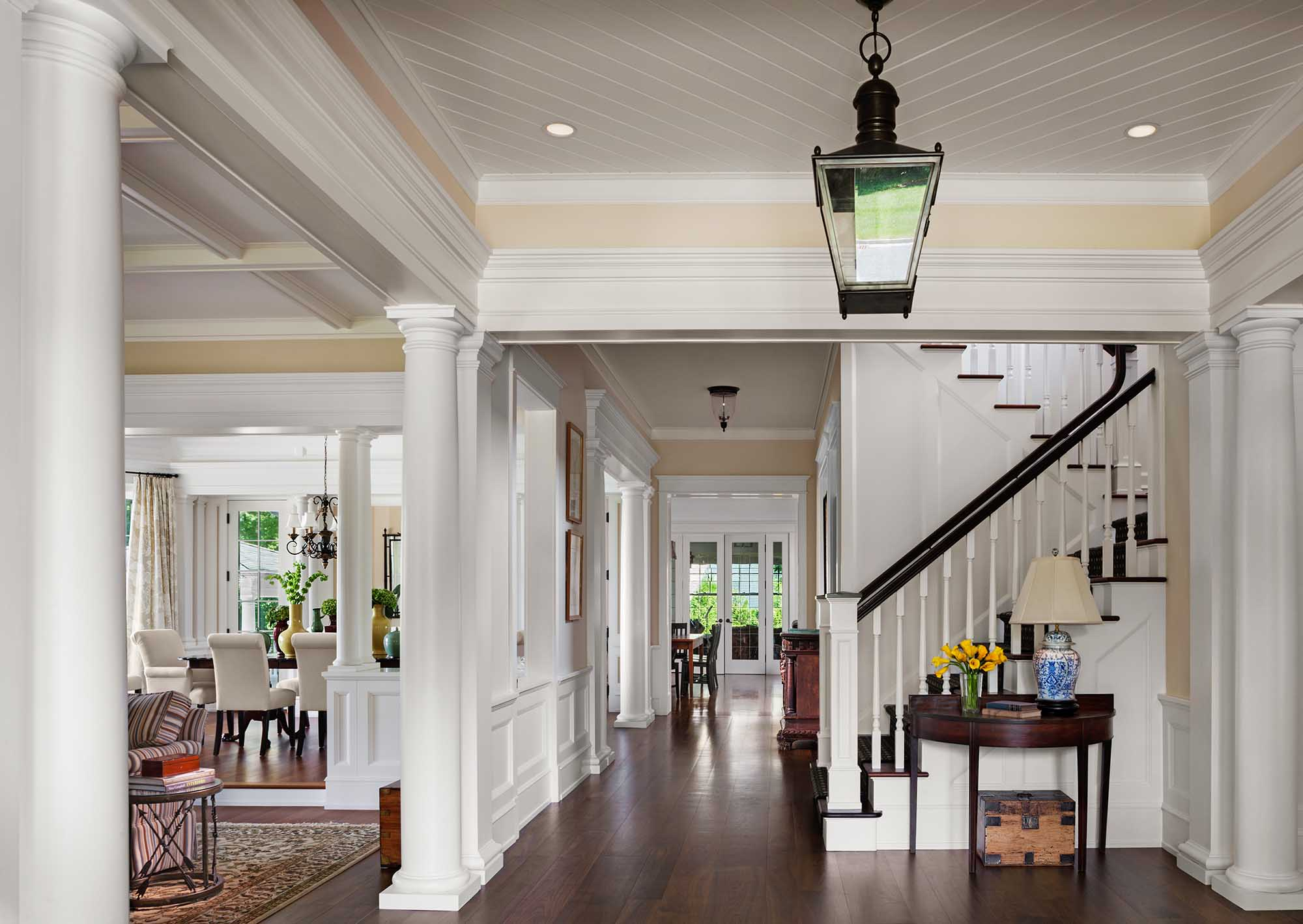Queen Anne Revival, Cold Spring Harbor, long island, doric columns, stairs, wainscott, coffer ceiling