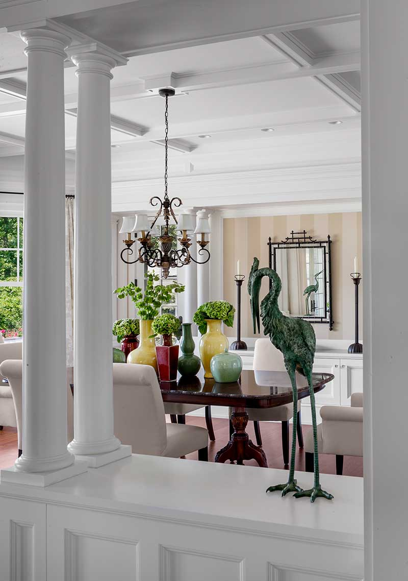Queen Anne Revival, Cold Spring Harbor, long island, dining room, doric columns, coffer ceiling, wainscott