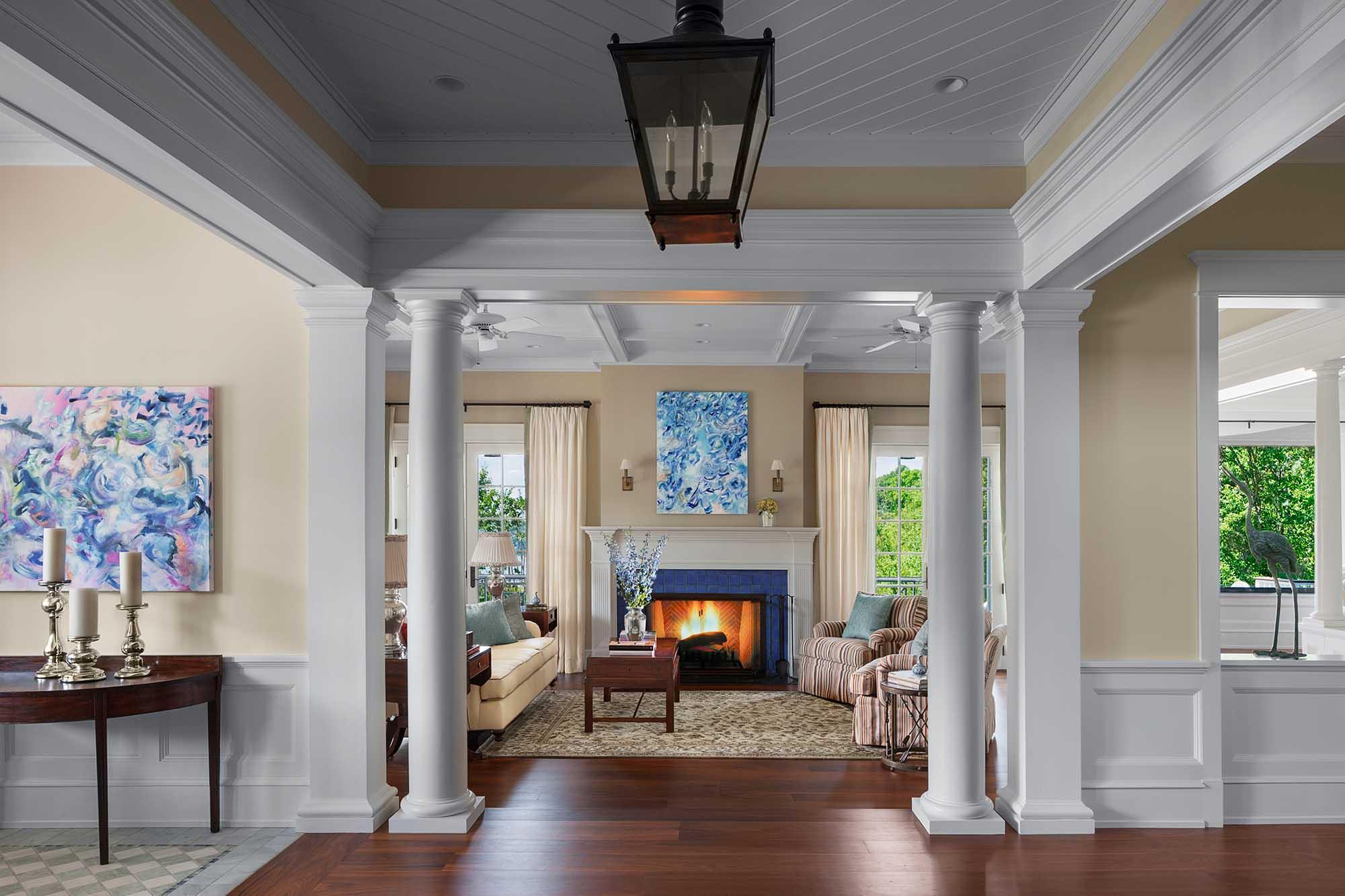Queen Anne Revival, Cold Spring Harbor, long island, living room, entry hall, modern art, doric columns, wainscott, coffer ceiling