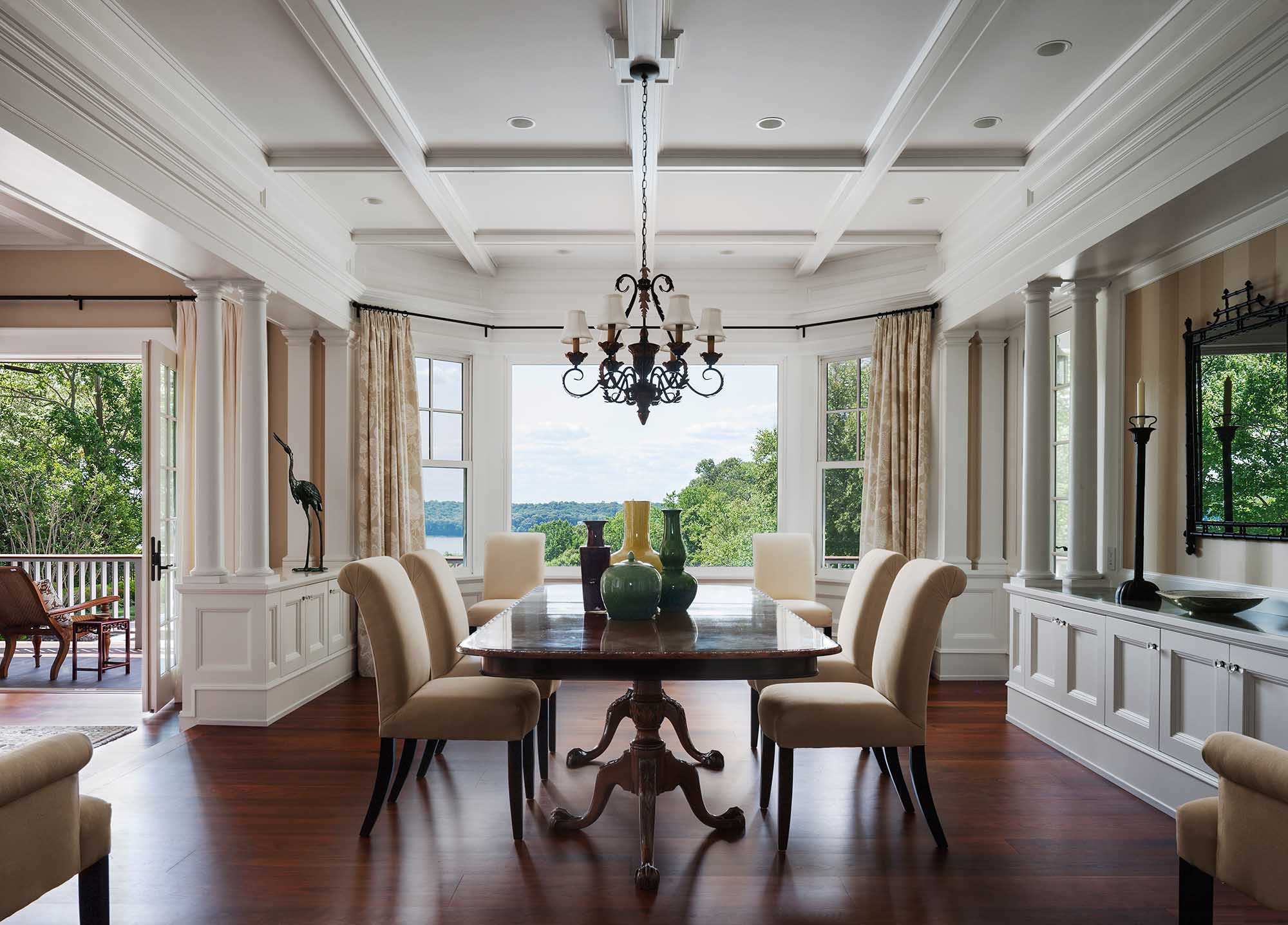 Queen Anne Revival, Cold Spring Harbor, long island, dining room, doric columns, coffer ceiling, wainscott, water view, long island sound, bay window, balcony
