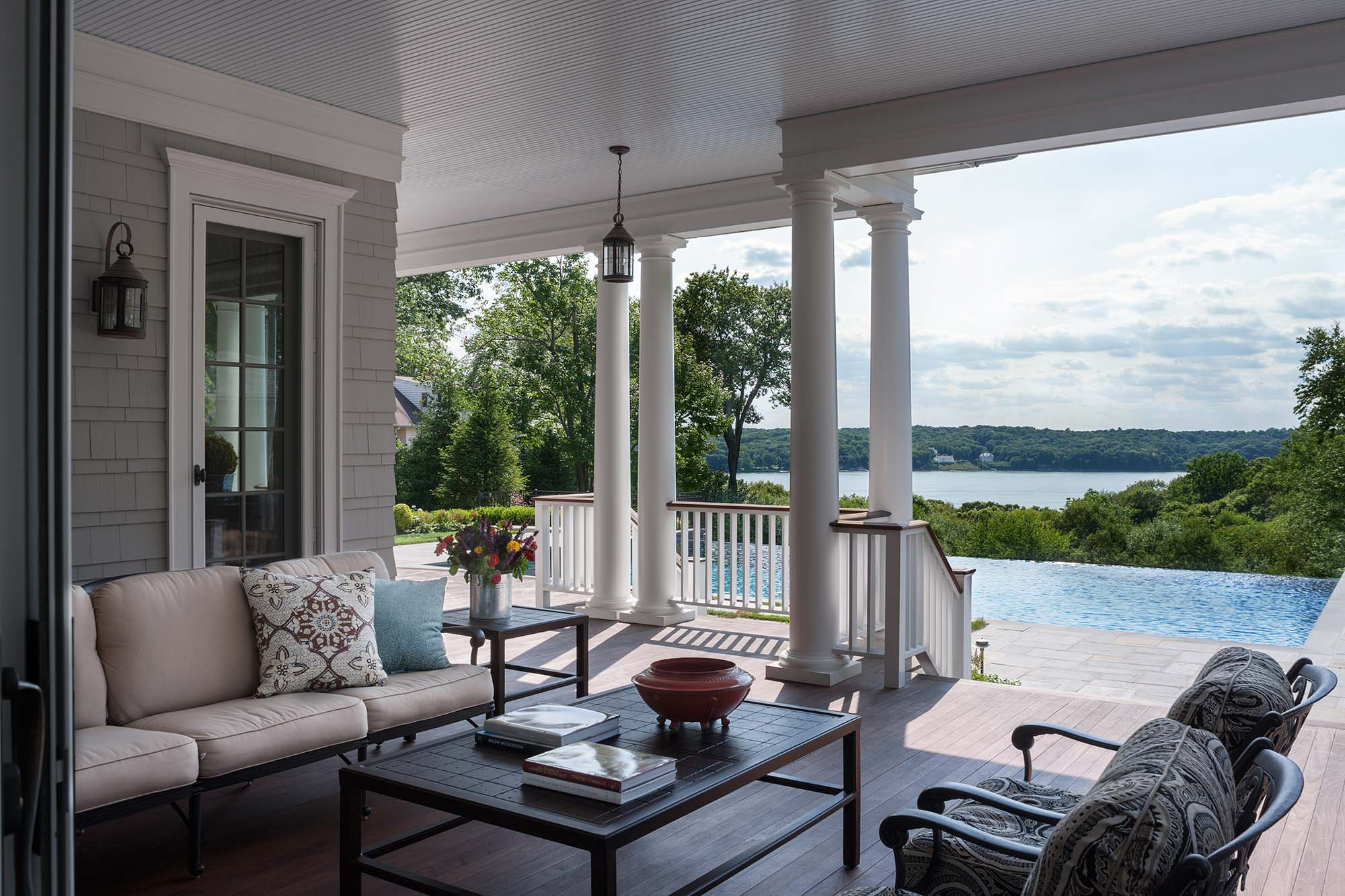 Queen Anne Revival, Cold Spring Harbor, long island, water view, long island sound, patio, deck, doric columns, ceiling fan, infinity pool