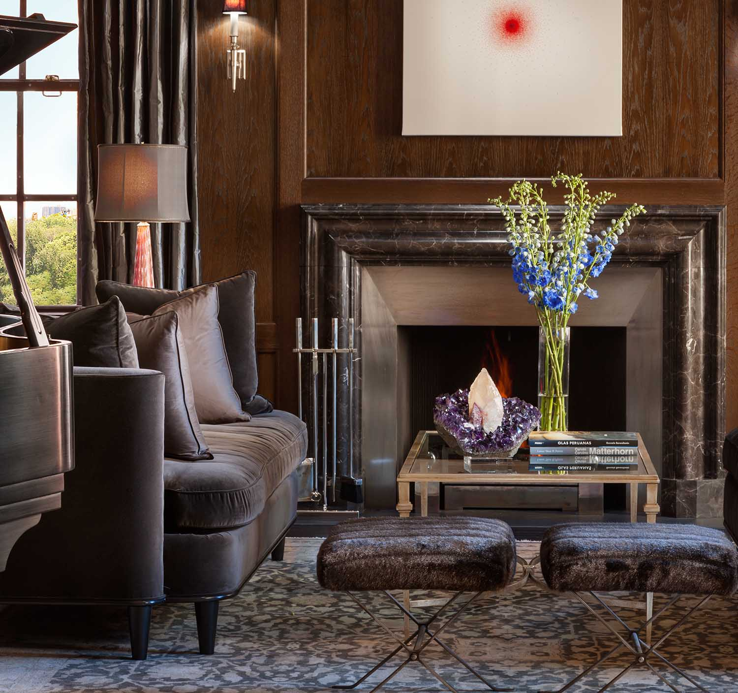 Central Park, Lenox Hill, Manhattan, Living Family room transitional precious mineral fireplace contemporary art piano