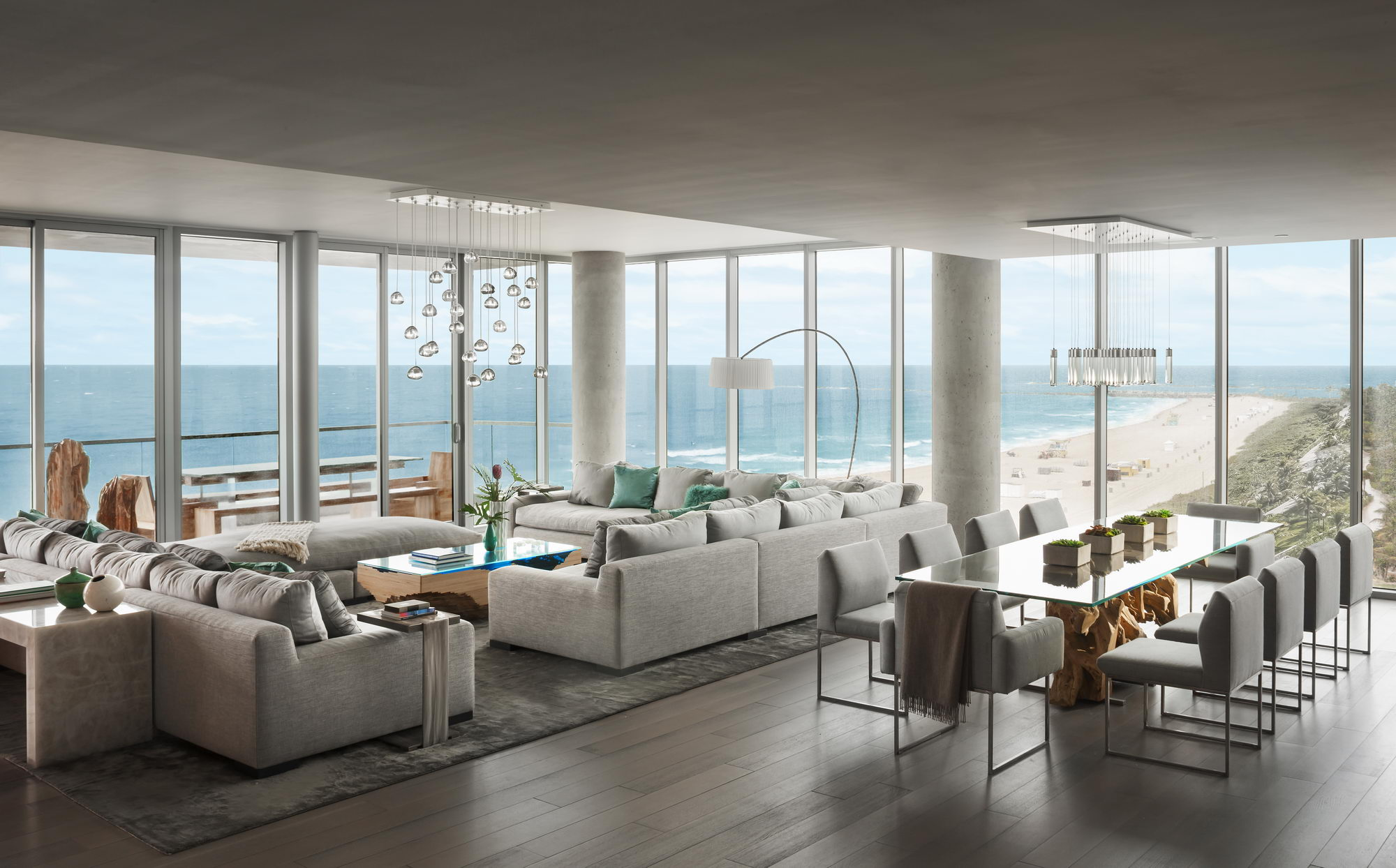 Ocean penthouse beach view south beach Miami Florida contemporary apartment great room living room family room dining room picture windows beach