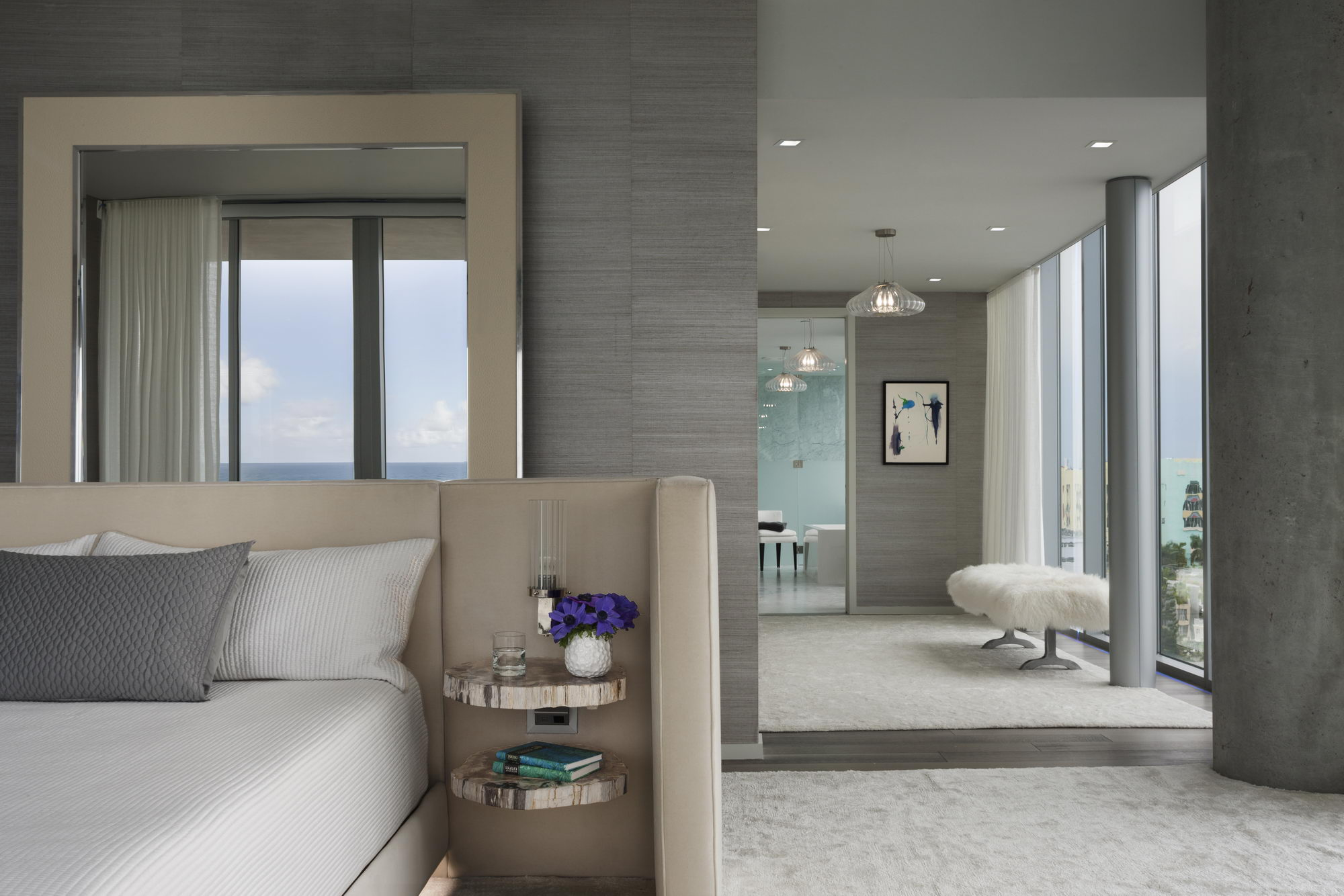 Ocean penthouse beach view south beach Miami Florida contemporary apartment master bedroom sitting bathroom