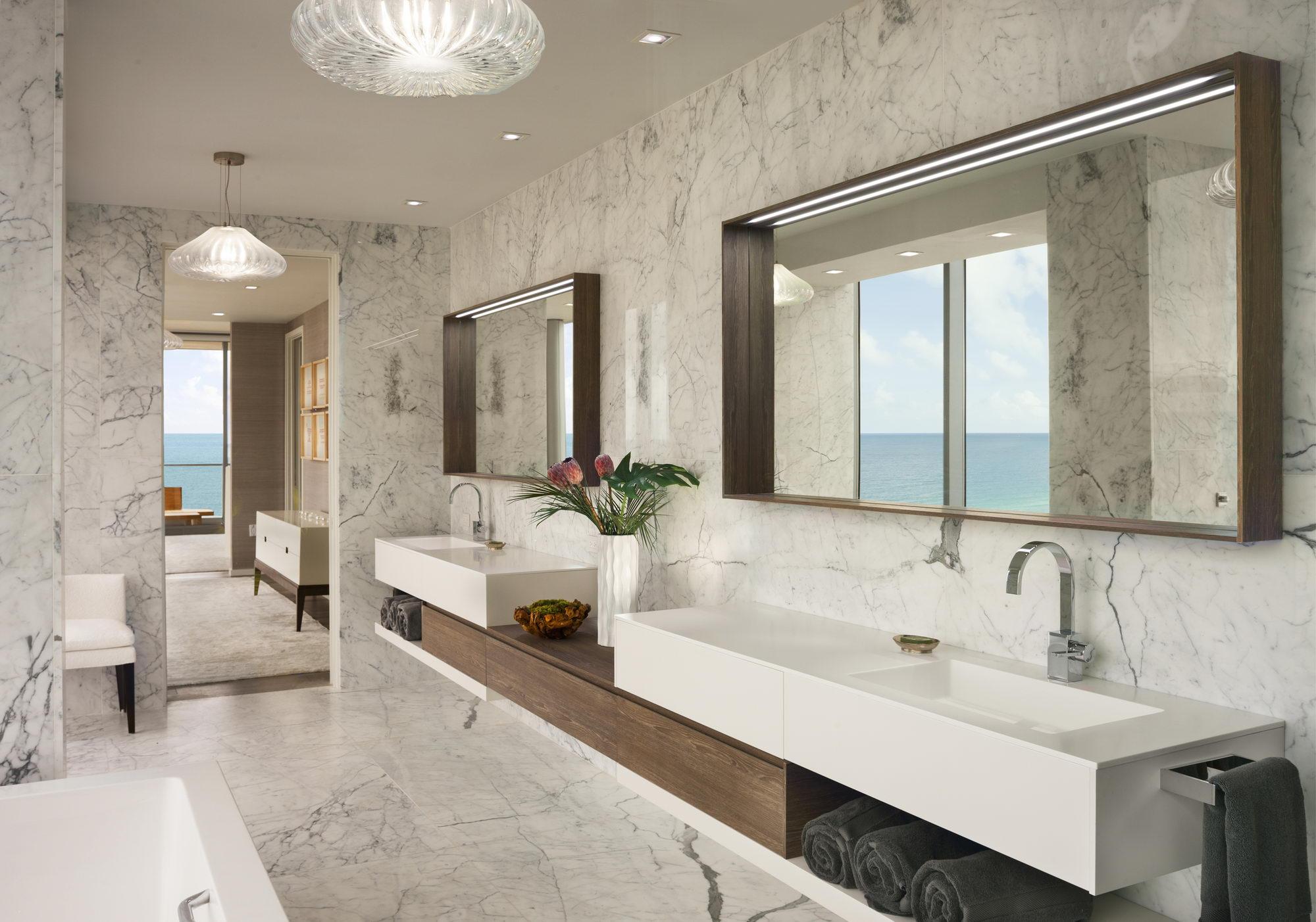 Ocean penthouse beach view south beach Miami Florida contemporary apartment master bathroom marble ocean view