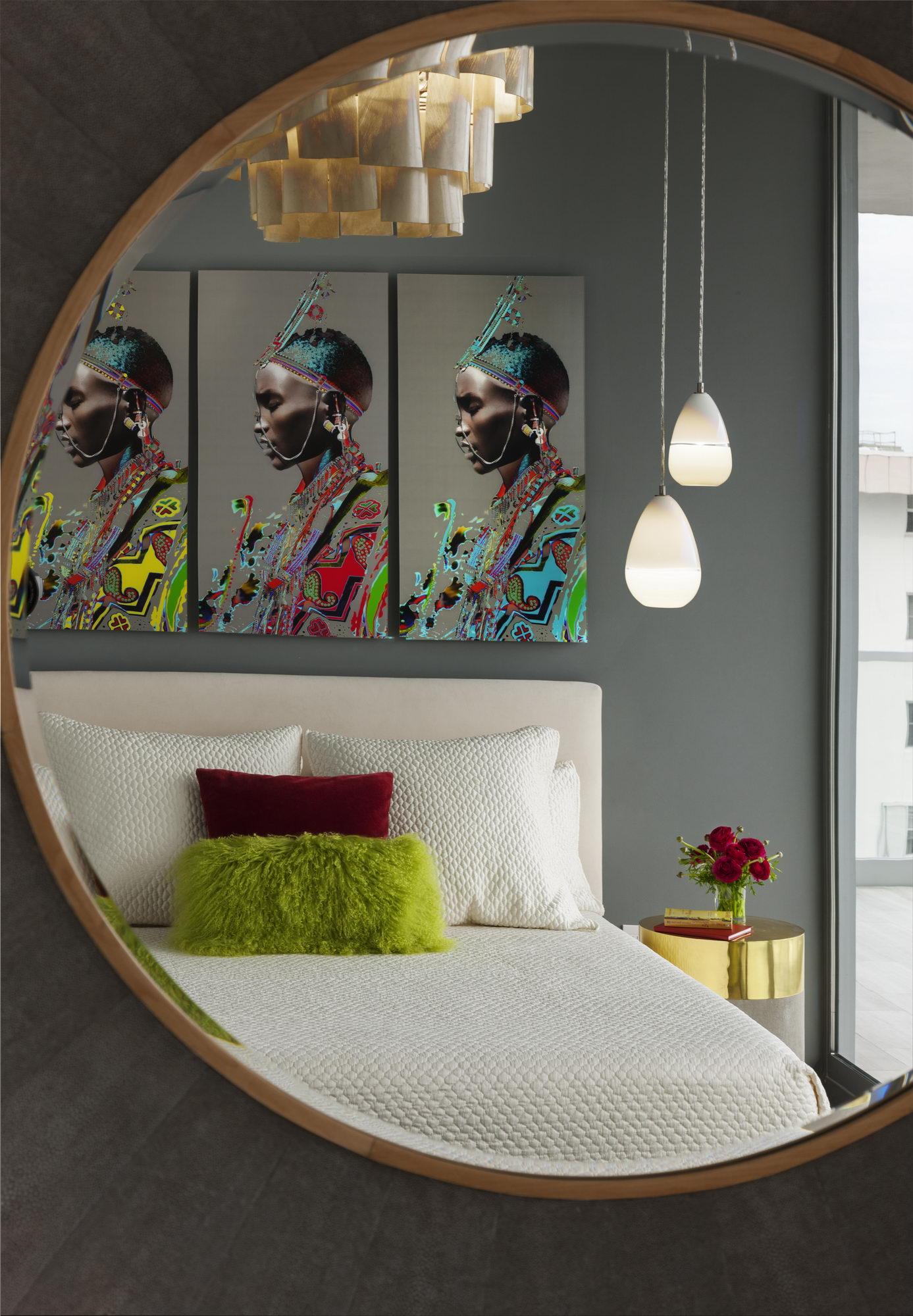 Ocean penthouse beach view south beach Miami Florida contemporary apartment mirror bedroom African art