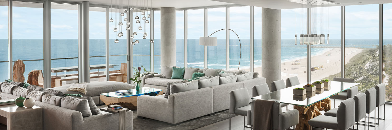 Ocean penthouse beach view south beach Miami Florida contemporary apartment great room dining room living room balcony