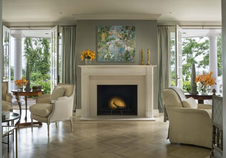 East Hampton, Long Island architect, classical, traditional, transitional interiors, neoclassical, renovation, living room, sitting room, fireplace, gray, teal, french door, deck