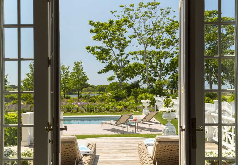 East Hampton, Long Island architect, classical, traditional, transitional,, neoclassical, renovation, pool, deck, lounge chairs, long island sound