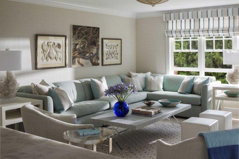 East Hampton, Long Island architect, classical, traditional, transitional interiors, neoclassical, renovation, family room, precious gem table, precious gem lamp, teal, white