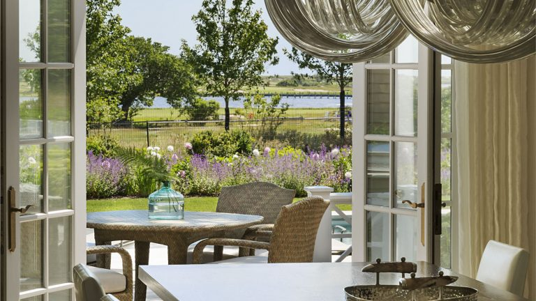 East Hampton, Long Island architect, classical, traditional, transitional interiors, neoclassical, renovation, dock, french doors, dining room