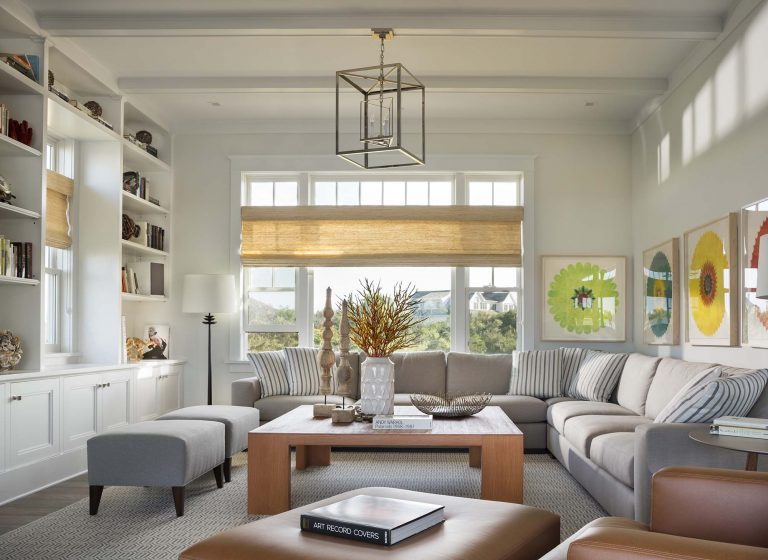 Transitional, modern, white trim, built-ins, family room