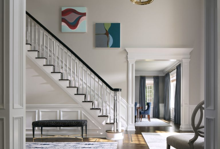 Sands Point long island renovation, entry stair hall, chandelier